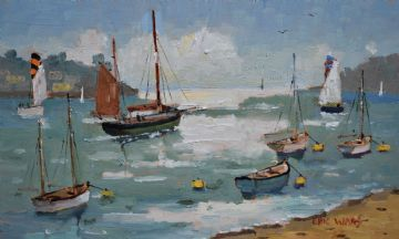 Eric Ward Original Oil Painting Boats At Fowey Cornwall
